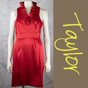 Taylor Red Dress Ruffle V-Neck Collar 6 NWT